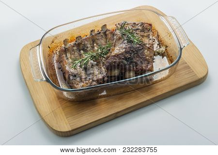 Glass Pan With Baked Pork Ribs