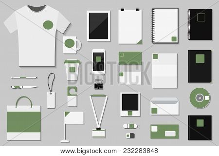 Brand Identity Template Vector Set Business Branding Corporate Mockup Design With Letter New Branded
