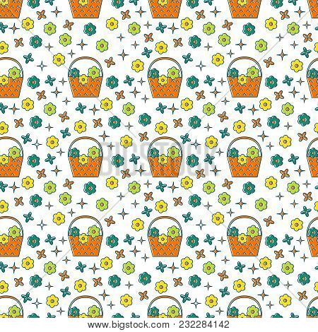 Vector Seamless Pattern With Basket Of Flowers And Flowers In Trendi Linear Style Isolated On White