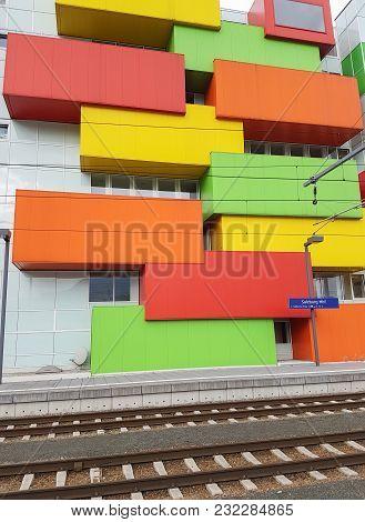Salzburg, Austria - September 7 2017, Multi-colored Rectangular Box Shaped Exterior Architectural Fe