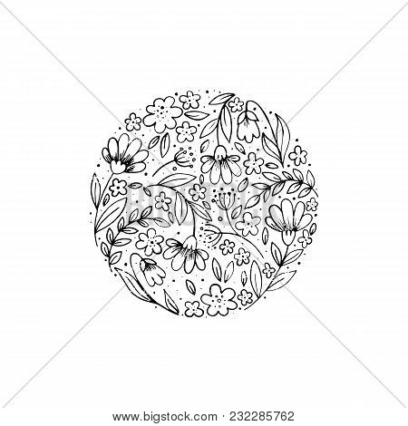 Vector Hand Drawn Style Floral Logo In A Shape Of A Circle. Outline Logotype With Flowers. Business