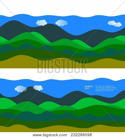Freshness Natural Theme, A Fresh Landscape Background. Set Elements Design. Abstract Wavy For Overla