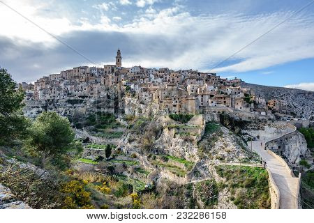 Wide Panorama Of The Town Of Bocairent, A Classic Hillside Town In Spain