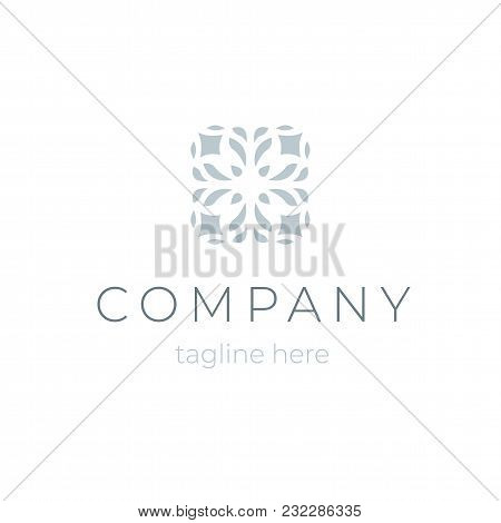 Trendy Company Logo Isolated. Template Floral Symbol For Beauty Saloon Or Jewel Business Branding. M