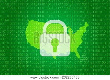 Map Of United States. Vector Illustration With Lock And Binary Code Background. Internet Blocking, V