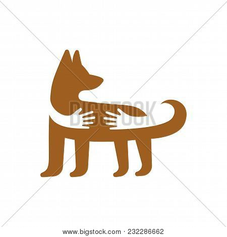 Hands Hugging Dog Logo Template. Pet Shop Or Veterinary Clinic Emblem. Domestic Animal Care And Love