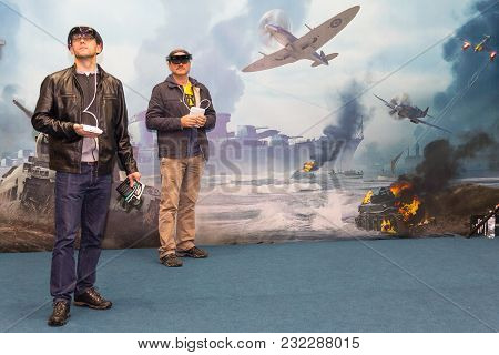 Kiev, Ukraine - On October 08, 2017: Men Of Virtual Reality Wearing Spectacles At An Exhibition Of C