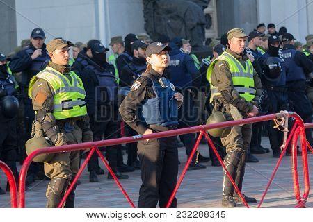 Kiev, Ukraine - October 18, 2018: Police Woman Standing In Cordon Guarding The Parliament Building
