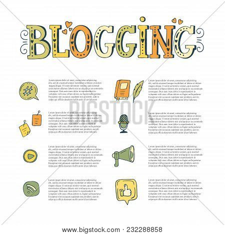 Vector Blogging Hand Drawn Elements With Text.  Speech Bubble, Like, Microphone, Wi-fi, Earth, Stick
