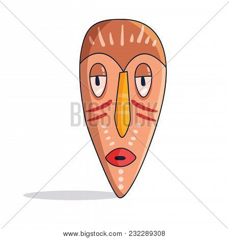 African Mask. Colorful. Vector. Cartoon. Isolated Art On White Background Flat