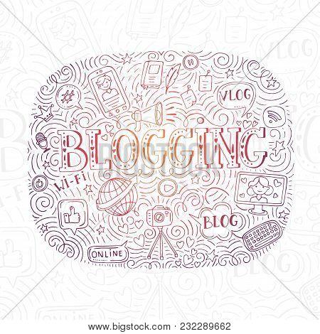 Doodle Vector Illustration With Girl, Boy, Bloger, Mobile Phone, Speech Bubble, Hearts, Computer, Mi