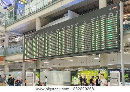 Bangkok, Thailand - January 6, 2018: Arrival Board In Suvarnabhumi International Airport, The Bigges