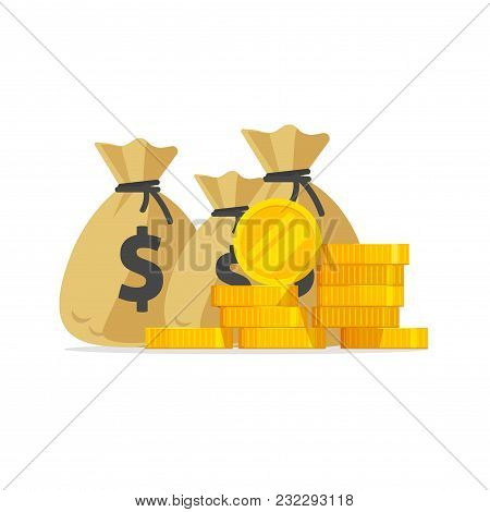 Money Vector, Big Pile Or Stack Of Gold Coins And Cash In Bags, A Lot Of Money Isolated, Idea Of Wea