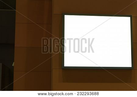 Blank Showcase Billboard Or Advertising Light Box On Wall For Your Text Message Or Media Content At