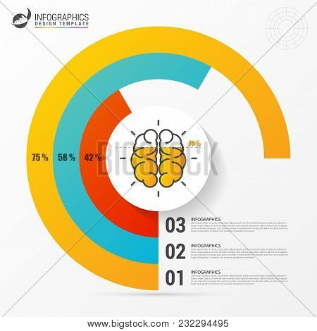 Pie Chart. Circle With Brain. Infographic Design Template. Vector Illustration