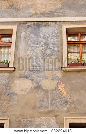 Fresco And Icon On The Facade Of The Building.