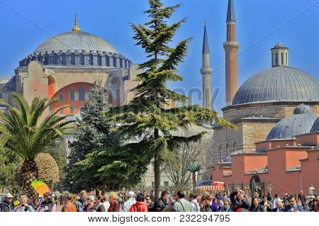 Istanbul, Turkey - March 24, 2012: People At The Hagia Sophia.