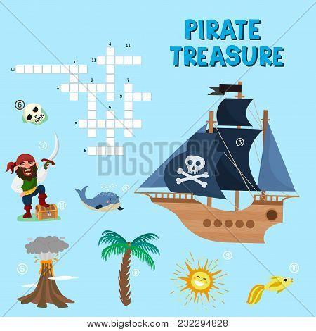 Pirate Puzzle Treasure Adventure Crossword Puzzle Maze Education Game For Children About Pirates Fin