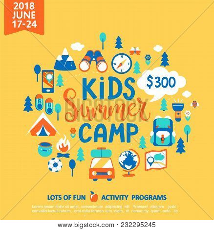 Kids Summer Camp Concept With Handdrawn Lettering, Camping And Travelling On Holiday With A Lot Of C