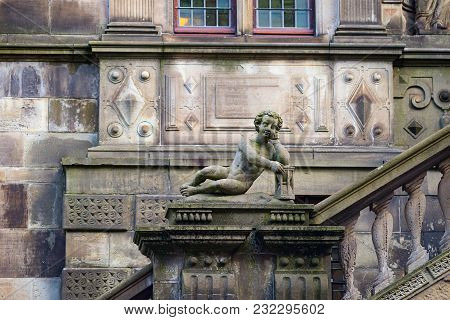 Look At The Stone Facade Of City Hall, Leiden, Netherlands
