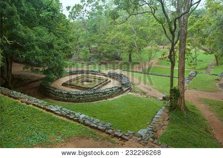 Ruins Of Sacred Structure Of Ancient City Sigiriya With Rural Landscape And Trees, Sri Lanka. Unesco