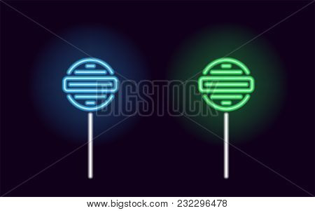 Blue And Green Neon Lollipop. Vector Silhouette Of Neon Fruit Lollipop Consisting Of Outlines, With