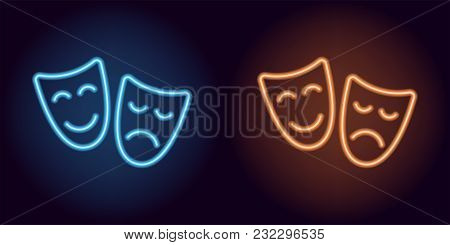 Blue And Orange Neon Mask. Vector Silhouette Of Neon Theater Masks Consisting Of Outlines, With Back