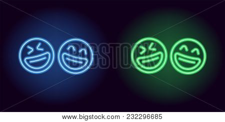 Blue And Green Neon Laughing Emoji, Fool Day. Vector Silhouette Of Neon Pair Emoji With Smile Consis