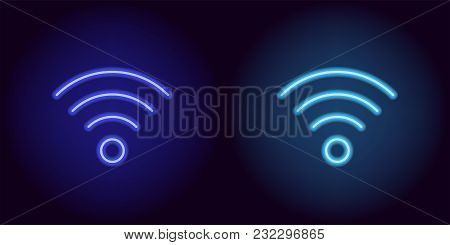 Blue Neon Wi-fi Sign. Vector Silhouette Of Neon Wi-fi Zone Consisting Of Outlines, With Backlight On