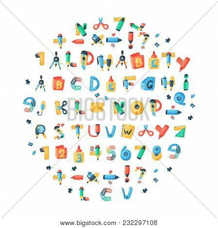 Alphabet Stationery Letters Vector Abc Font Alphabetic Icons Of Office Supply And School Tools Acces