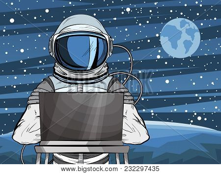 Hooded Hacker Astronaut Behind A Laptop In Pop Art Style. Cosmonaut On Mars Planet Surface. Vector I