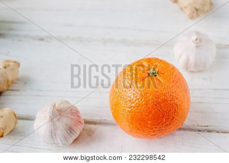 Citrus Fruits With Garlic And Ginger Root.