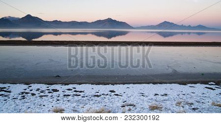 Twilight Mirage On The Salt Flats Near West Wendover Nevada On The Border With Utah