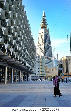 Riyadh, Saudi Arabia - January 25, 2017: A Man Walks Nearby The Saudi National Museum Park And Al Fa