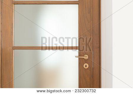 Detail of wooden door, frontal view