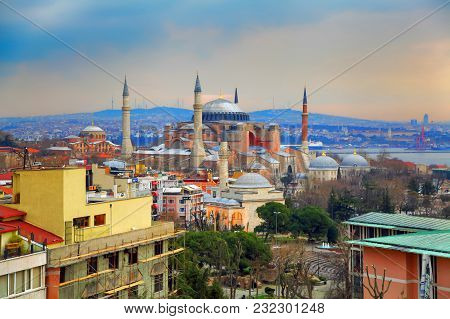 Istanbul, Turkey - March 28, 2012: Dawn Over The Cathedral Of Ayasofya.