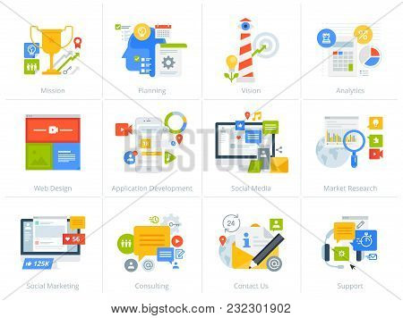 Set Of Flat Design Style Concept Icons Isolated On White. Vector Illustrations For Business, Managem