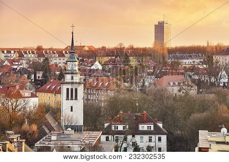 Picture Of The Purple Sunset Over Szczecin City, Poland.