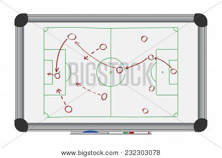 Soccer Game Strategy On Whiteboard. Drawing With Football Tactical Plan On Marker Board. Vector Illu