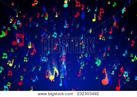 Seamless Animation Of Colorful Musical Notes For Music Videos, Led Screens And Projections At Night