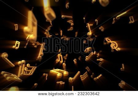 Abstract Flow Of Golden Musical Notes Flying Into The Camera 3d Illustration