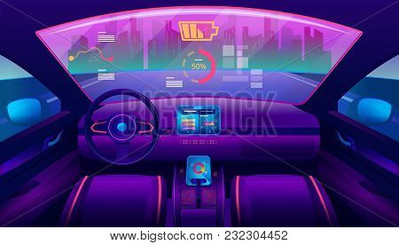 Automobile Salon Or Driverless Car Interior View. Futuristic Self-driving Vehicle At Road Moving Tow
