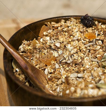 Delicious And Healthy Granola Or Muesli, With Lots Of Dry Fruits, Nuts And Grains.