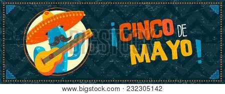 Happy Cinco De Mayo Cactus Mariachi Web Banner