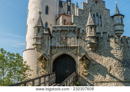 Lichtenstein Castle - Closeup Of Entrance Gate And Drawbridge