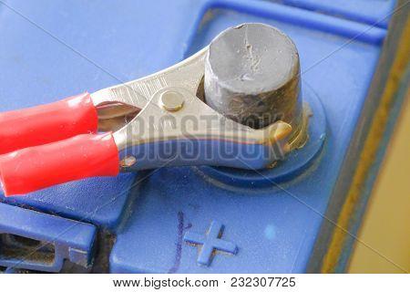 Accumulator Charging, Terminals. Car Repair Service Station