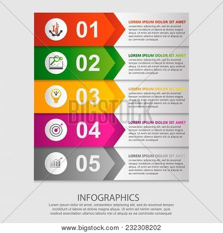 Modern Vector Illustration 3D. Template For Infographic Rectangles With Arrows Five Elements. Contai