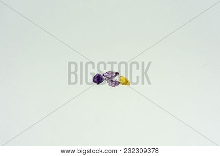Colorful Gem Stone Leaves On White Isolated Background Jewelry