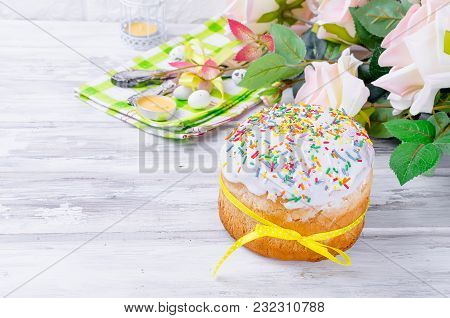 Easter Cake With Colorful Topping And Place Setting For Easter On The Bright Background