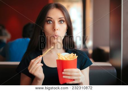 Hesitating Woman Thinking About Eating Fast Food Or Not